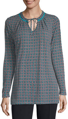 Liz Claiborne Womens Keyhole Neck Long Sleeve Tunic Top