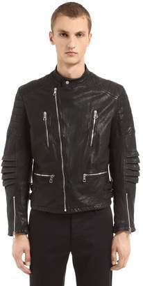 Neil Barrett Hand Printed Leather Biker Jacket