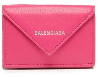 Balenciaga Papier Mini Textured Leather Wallet - Womens - Pink