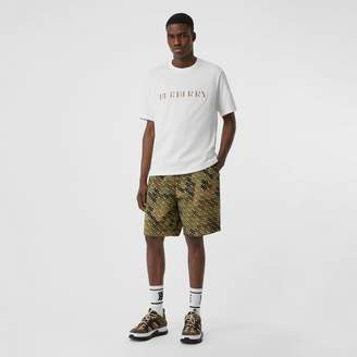 Burberry Embroidered Check Logo Cotton T-shirt