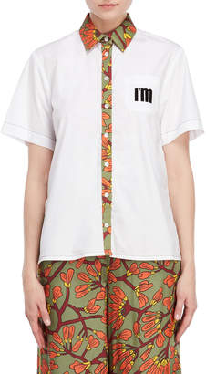 I'M Isola Marras Printed Trim Pocket Shirt