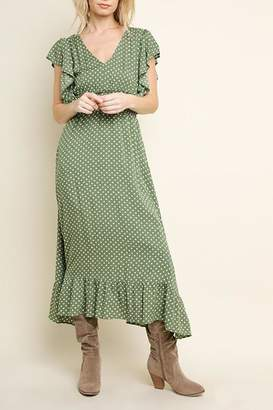 Umgee USA Green Polka-Dot Dress