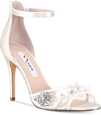 Nina Clarity Mesh-Panel Ankle-Strap Evening Sandals Women's Shoes