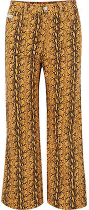 ALEXACHUNG Cropped Snake-print High-rise Wide-leg Jeans - Mustard
