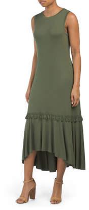 Sleeveless Flounce Hem Midi Dress