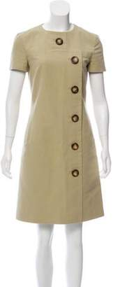 Michael Kors Short Sleeve Button-Up Dress Beige Short Sleeve Button-Up Dress