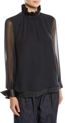 Brunello Cucinelli Long-Sleeve Silk Chiffon Blouse w/ Ruffle Monili Collar