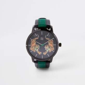 River Island Mens Grey tiger print round face watch