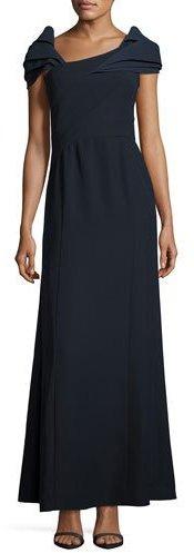 Armani Collezioni Asymmetric Cap-Sleeve A-Line Gown, Midnight