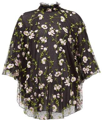 Giambattista Valli Floral Embroidered Tulle High Neck Blouse - Womens - Black Pink