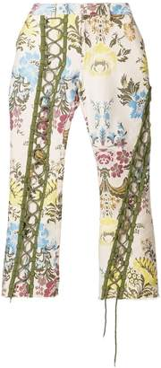 Marques Almeida Marques'Almeida lace up floral trousers