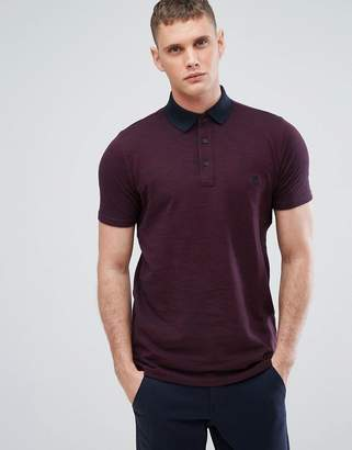 Slim Fit Space Dye Polo in Bordeaux