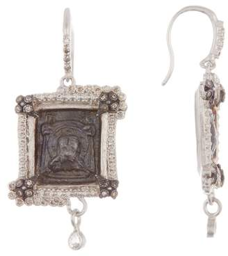 Armenta Sterling Silver Square Lion Medallion Earrings With Champagne Diamonds - 0.44 ctw