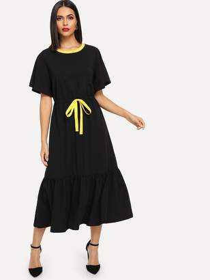 Shein Neon Drawstring Drop Waist Midi Dress