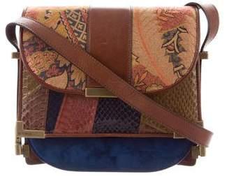 Etro Leather Woven Snakeskin-Trimmed Shoulder Bag