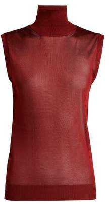 Chloé Sleeveless High Neck Top - Womens - Burgundy
