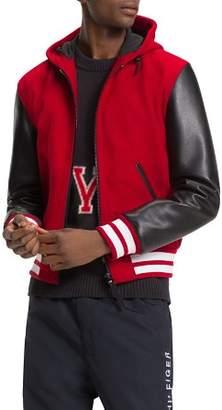 Tommy Hilfiger Mixed-Media Hooded Varsity Jacket