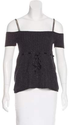 Prada Off-The-Shoulder Chain-Accented Top