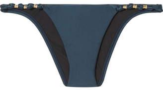 Vix Paula Embellished Bikini Briefs - Navy
