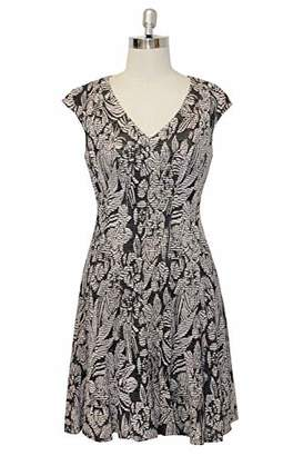 London Times Women's Cap Sleeve V Neck FIT and Flare Dress