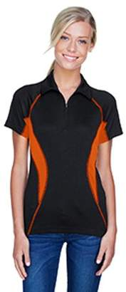 Ash City - North End Sport Red Ladies' Serac UTK cool?logik Performance Zippered Polo - BLACK/ MNDRN 454 - 2XL 78657