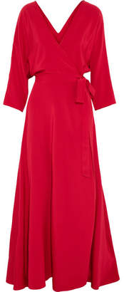 Diane von Furstenberg - Wrap-effect Washed-silk Gown - Red $550 thestylecure.com