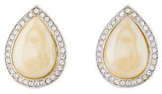 Saint Laurent Large Faux Pearl & Crystal Teardrop Clip-On Earrings