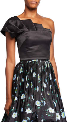 Flor Et.Al Collins Tiz Asymmetrical Crop Top w/ Pleated Front