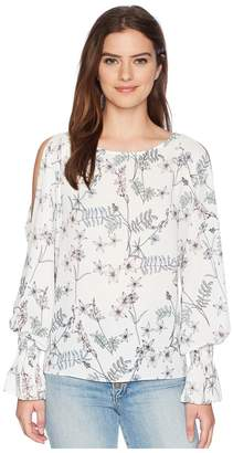 Vince Camuto Long Sleeve Flare Cuff Cold Shoulder Botanical Floral Blouse Women's Blouse
