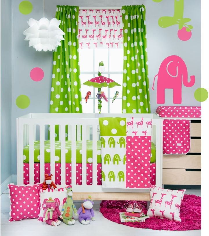 Glenna Jean Ellie & Stretch Crib Bedding Collection in Pink/Green