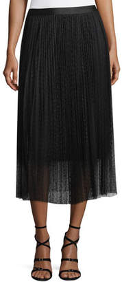 Robert Rodriguez Pleated Polka-Dot A-Line Midi Skirt
