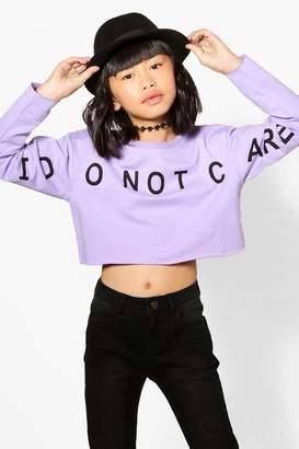 boohoo Girls Slogan Front Sweat Cropped Top