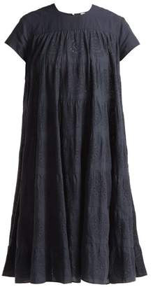 Merlette - Okuma Cotton Embroidered Tiered Dress - Womens - Navy