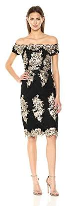 Nicole Miller New York Women's Off-Shoulder Sequin Embroidery Cocktail Dress