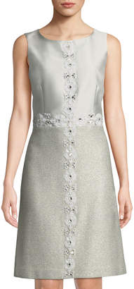 St. John Jasmine Hand-Beaded A-Line Dress