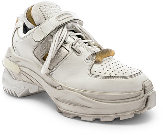 Maison Margiela Low Top Artisanal Sneaker in White   FWRD