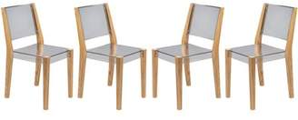 clear LeisureMod Barker Modern Wooden Dining Kitchen Side Chair in Set of 4
