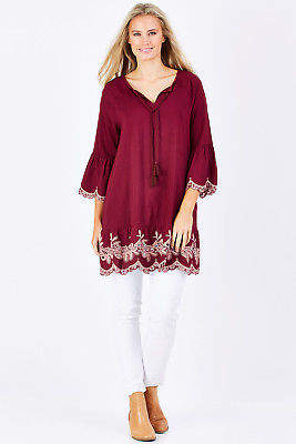 Living Doll NEW Womens Tunics Antique Lace Tunic Size 8 Burgundy - Tops