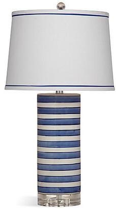 One Kings Lane Regatta Stripe Table Lamp - Blue/White