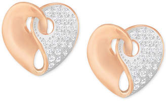 Swarovski Two-Tone Pave Heart Earrings