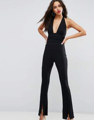 Asos Design Jersey Jumpsuit With Halter Neck And Plunge Detail