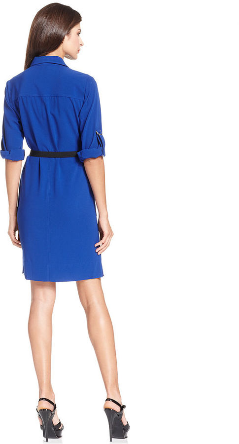 Ellen Tracy Dress, Three-Quarter-Sleeve Belted Snap-Button Shirtdress