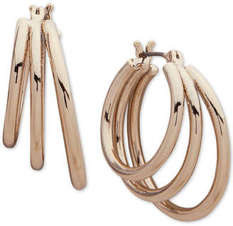 DKNY Gold-Tone Triple-Row Hoop Earrings