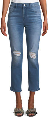 J Brand Ruby Distressed High-Rise Cropped Cigarette Jeans