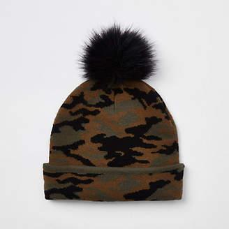 River Island Boys khaki faux fur camo beanie hat