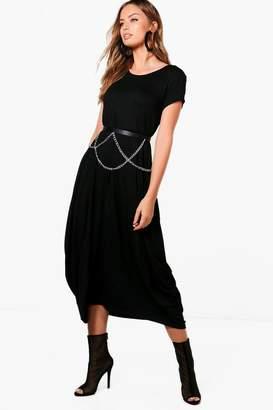 boohoo Kara Cap Sleeve Jersey Oversized Maxi Dress