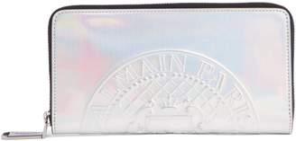Balmain Embossed Coin Leather Zip Around Wallet