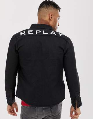 Replay denim overshirt with back logo in black