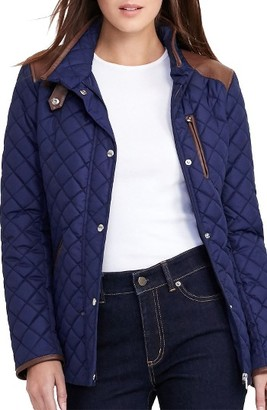 Women's Lauren Ralph Lauren Faux Leather Trim Quilted Jacket $160 thestylecure.com