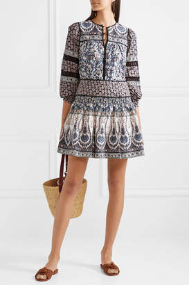 Sea Gemma Printed Cotton-poplin Mini Dress - Blue